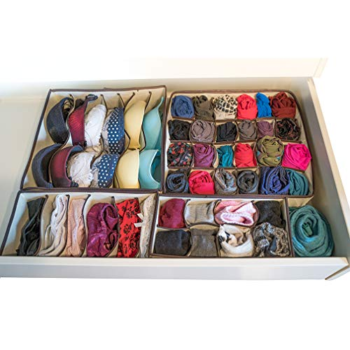 Evelots Foldable-Collapsable Storage Box Drawer Closet Dresser Organizers, Set/4