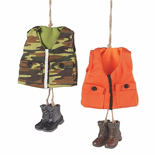 Hunting Vest and Boots Ornaments Green Camouflage Hunter Ora