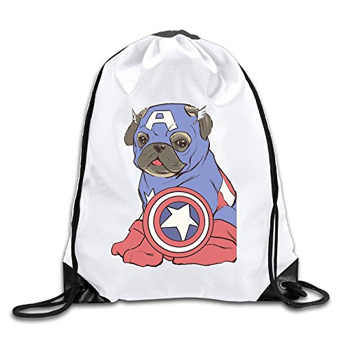 Runy Custom Captain America Pug Adjustable String Gym Backpack Travel Bag - Americas Kors Las Michael