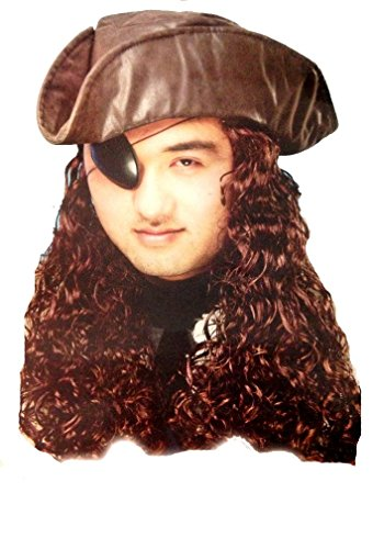 Pirate Hat in Brown with attached long curly Pirate Hair (Hats With Hair Attached)