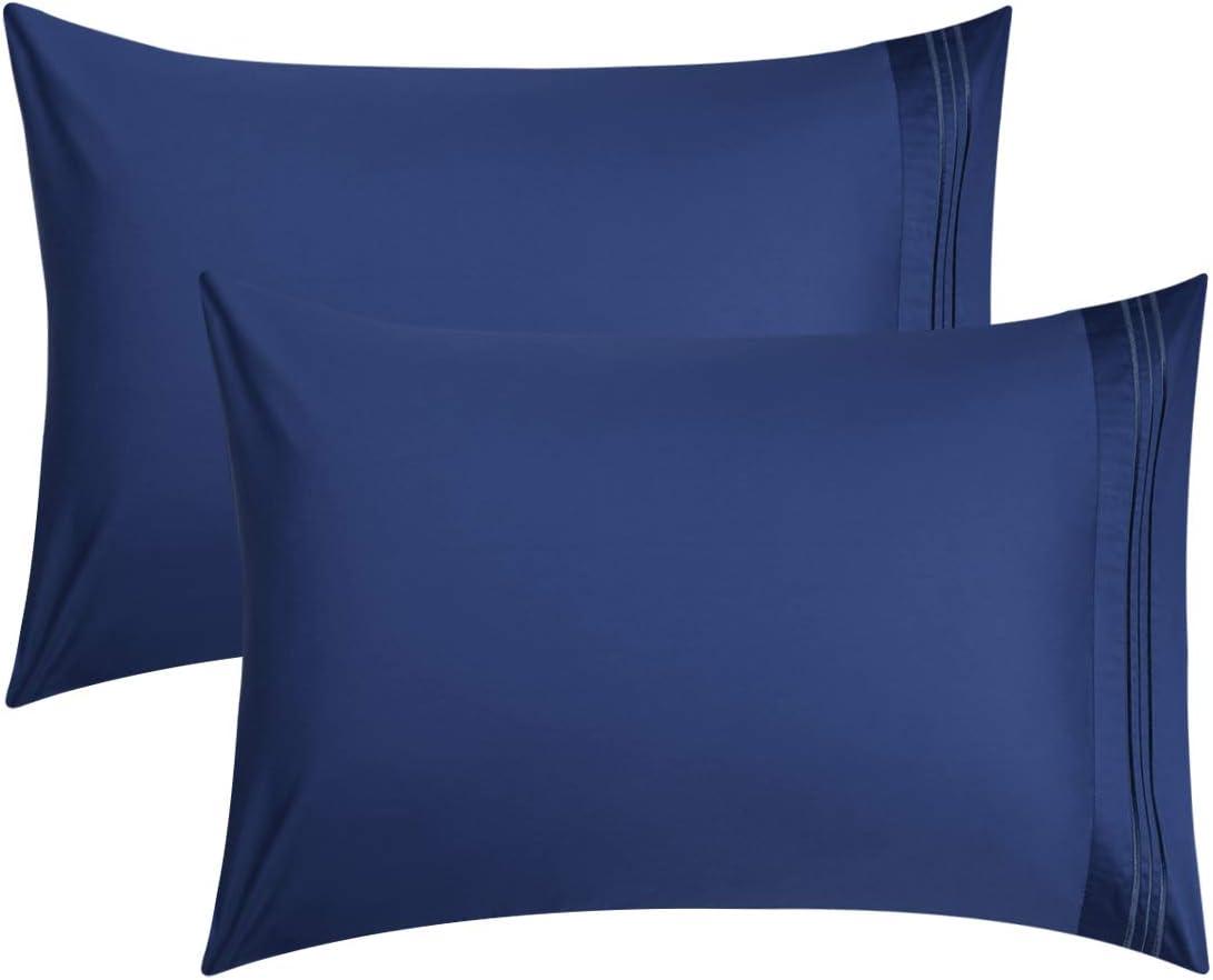 PiccoCasa - Funda de almohada bordada de 100% algodón de 600 hilos de largo – Funda de almohada de algodón natural puro peinado, suave y sedoso satén, juego de 2, tamaño king, color azul