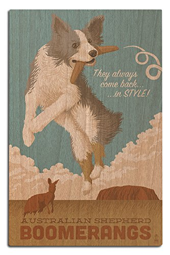 Australian Shepherd - Retro Boomerang Ad (12x18 Wood Wall Sign, Wall Decor Ready to Hang)