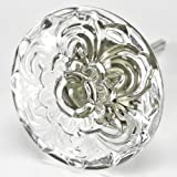 Daisy Glass Cabinet Knobs, Kitchen Drawer Pulls & Handles Set/12pc~ T103M Clear Flame Polished Vintage Glass Knobs for Cabinets, Dresser, Kitchen Cabinets and Cupboards with Antique Bronze Base