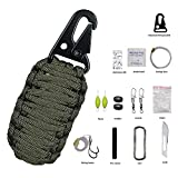 Emergency Survival Kit, xhorizon(TM)SR Paracord Survival Tool Key Chain Survival Kit with Fire Starter Eye Knife Weights Floats Fishing Line For Camping Fishing Hiking Outdoor Activities