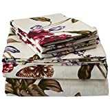 Tribeca Living 200-GSM Blossoms Printed Deep Pocket Flannel Sheet Set, Queen