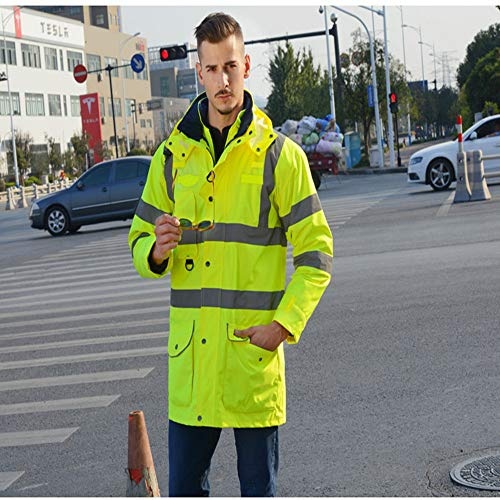 GSHWJS- trash can Reflective Cotton Coat High Speed Traffic Warning Duty Safety Jacket, Green Reflective Vests (Size : XXL) by GSHWJS- trash can (Image #1)