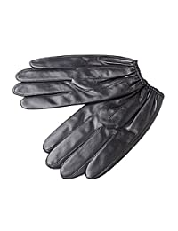 Oncefirst Men's Winter Warm Sheep Skin Driving Gloves Black