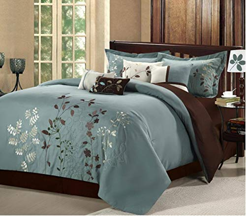 Chic Home Bliss Garden 8 Piece Embroidered Comforter Set, King, Sage from Chic Home