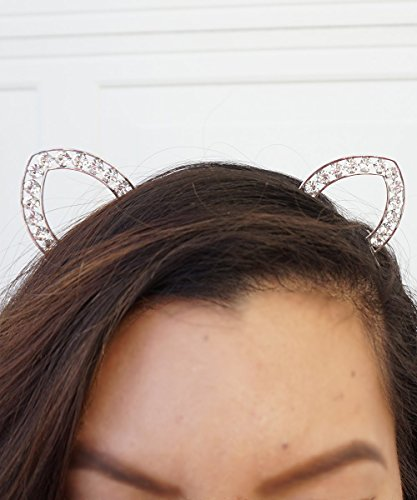 Crystal Cat Ears SILVER, Cat Ears Headband, Rave Cat Ears, Festival Cat Ears, Silver Cat Ears, Gold Cat Ears Headband, Halloween Cat Ears by Baubles N Gems