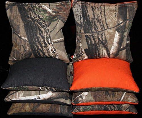 CORNHOLE BEAN BAGS All Weather Resin Filled REALTREE Orange Camo Hunting Fishing