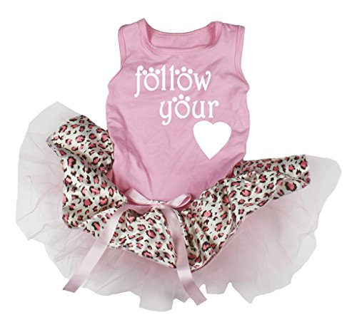 Petitebella Dog Dress Follow Your Heart Pink Shirt White Leopard Tutu (Small) Leopard Pink Heart