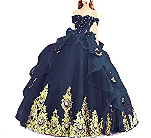Modeldress Off Shoulder Applique Tulle Ball Gown Beaded Princess Quinceanera Evening Prom Dress