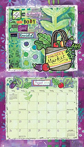 "LANG – 2018 Wall Calendar – ""Happy Life"", Artwork by Lori Siebert – 12 Month – Open 13 3/8″ X 24″"