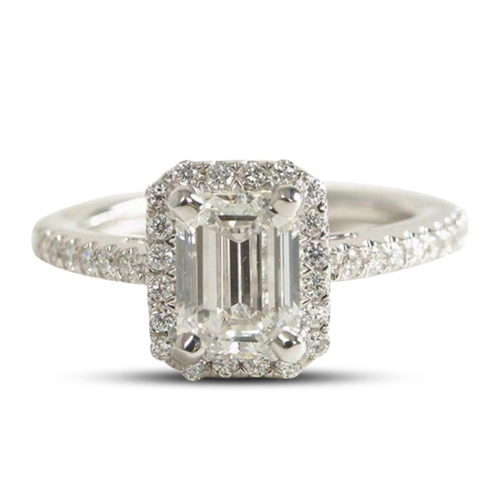 Vorra Fashion 925 Sterling Silber Smaragd Cut weiß CZ Einzigartige Engagement Hochzeit Ring