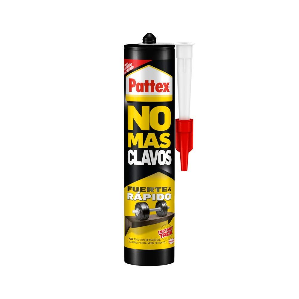 Pattex No Más Clavos Original, adhesivo de montaje resistente, pegamento extrafuerte para madera, metal y más, adhesivo blanco instantáneo, 1 cartucho x 370 g