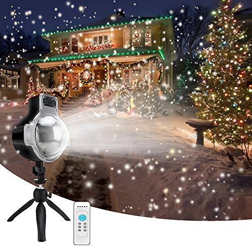 LEDshope Snowfall Projector LED Lights Wireless Remote, IP65 Waterproof Rotatable White Snow For Valentines Day Christmas Halloween Holiday Party Wedding Garden New Year House Landscape Decorations]()