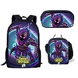 Fortnite School Backpack Lunch Bag Pencil Bag, 3 Pack Fortnite Game Pattern School Bag for Girls Boys Students