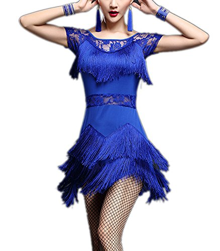 Fringe Lace Short Sleeve 1920's Gatsby Salsa Tango Dance Attire Costume Dresses Blue