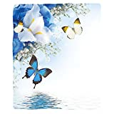 VROSELV Custom Blanket Floral Blue and White Wild Flowers with Monarch Butterflies Lily Therapy Zen Spa Art Prints Soft Fleece Throw Blanket Light Blue