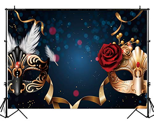 Allenjoy 10x6.5ft Polyester Masquerade Backdrop Black and Golden Luxury Eagle and Phoenix Masks Feather Rose Riband Bokeh Dots Fiesta Carnival Background for Party Photography or Decoration -