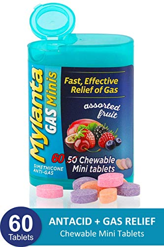 Mylanta Gas Relief Tablets, Gas Minis, Assorted Fruit, 60 Count