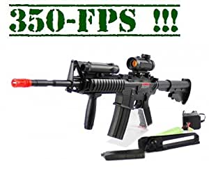 Full Auto/Semi Auto Shoots Extremely Fast and Hard 350-FPS 1:1 M16 / M4 Red Dot Version Airsoft Rifle Airsoft Gun, with Laser, Red Dot Scope, Foregrip, Rechargeable