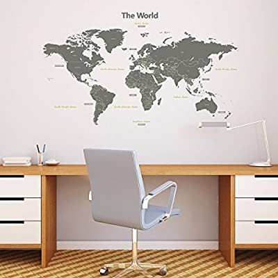 Decowall Modern Grey World Map Kids Wall Decals Wall Stickers Peel and Stick Removable Wall Stickers for Kids Nursery Bedroom Living Room (Large/Xlarge, Blue/Grey)