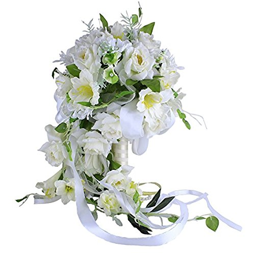 Wedding Bouquet Wildflower (Zebratown White Bouquets Waterfall Bride Bouquet Artificial Rose Flower Wedding Bridal Bridesmaids Bouquets (White))