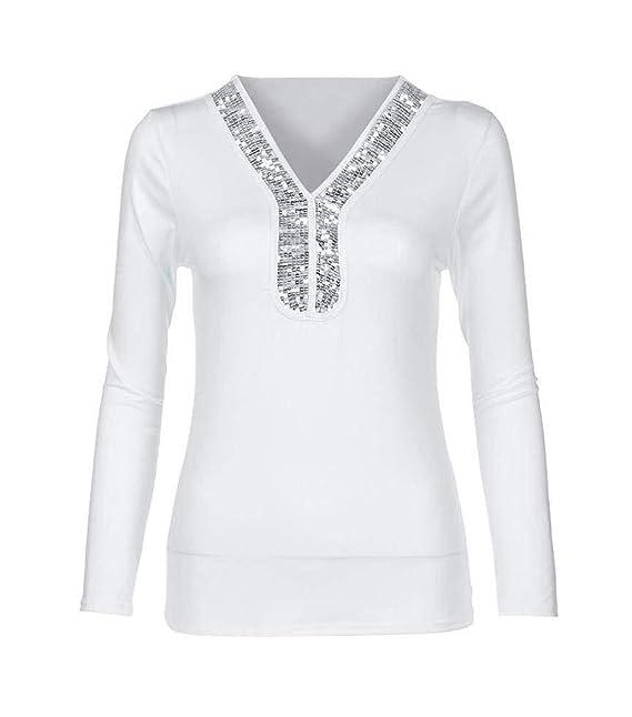 Primavera y Otoño Mujeres Slim Tops Casual Camisetas de Manga Larga Blusa Suéter Moda Cuello V