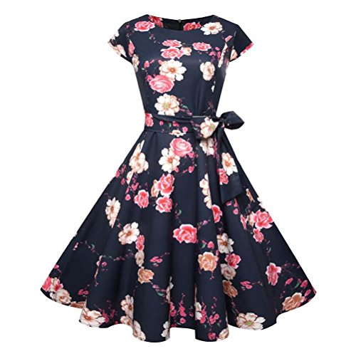 Beautyfine Vintage Bodycon Swing Dress Women Short Sleeve Casual Retro Evening Party Prom