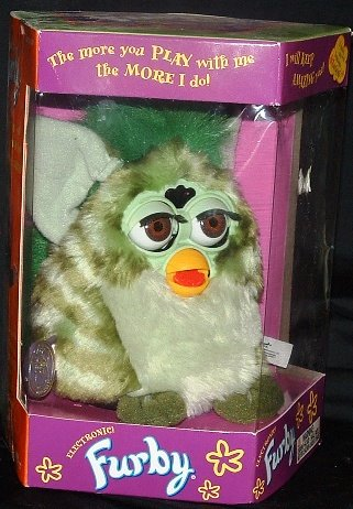 Original Electronic FURBY GRAY WITH BLACK SPOTS AND PINK TUMMY, PINK INNER EARS (1998 Tiger Electronics)