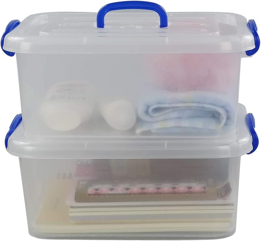 Morcte 8 Liter Clear Latching Box, Plastic Storage Bin with Handle, 2-Pack