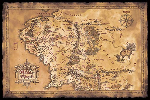 The Hobbit/The Lord of The Rings - Movie Poster/Print (Map of Middle Earth - Limited Dark/Sepia Edition) (Size: 36 inches x 24 inches) (Unframed) (The Hobbit Map)