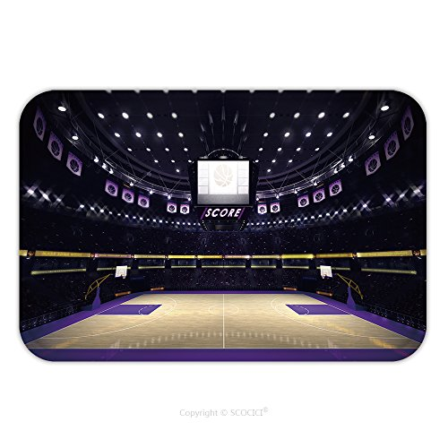 Flannel Microfiber Non-slip Rubber Backing Soft Absorbent Doormat Mat Rug Carpet Illuminated Basketball Court With Spectators And Spotlights Sport Topic Arena Interior 367325009 for Indoor/Outdoor/Bat