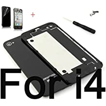 Battery Cover For iPhone 4 4S Back Cover Door Rear Panel Plate Glass Housing Replacement + Tools (Black For iPhone 4)
