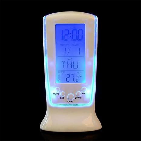 Relojes de Pared Despertador electrónico Hermoso Reloj con la música de visualización de la Temperatura de