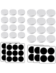 Aozita 24-Pack Plastic Mason Jar Lids - Plastic Storage Caps for Ball Jars and More - Regular Mouth Jar & Wide Mouth Jar Combo/12 of Each - 24 Chalkboard Labels Included