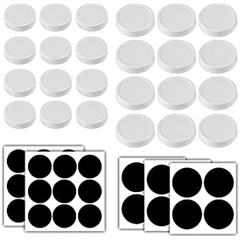 Aozita 24-Pack Plastic Storage Caps for Mason Jars - Plastic Canning lids for Ball and More - Regular Mouth Jar & Wide Mouth Jar Combo / 12 of Each - with 24 Chalkboard Labels