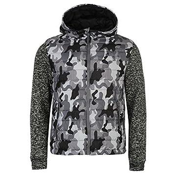 Lee Cooper camuflaje de punto acolchado chaqueta para hombre color negro chaquetas abrigos Outerwear, gris oscuro, small: Amazon.es: Deportes y aire libre
