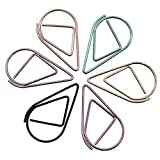 INWISH Planner Accessories Clips Cute Teardrop Paper Clips Smooth No-Skid Metal Steel Assorted Sizes Medium 1-Inch And Large 1-1/4-Inch,Assorted Colors 120 Packs