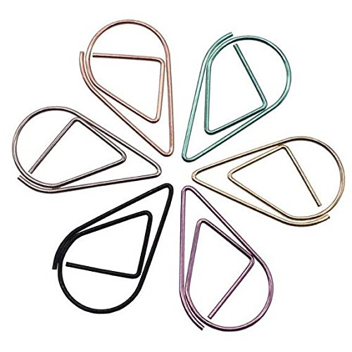 INWISH Planner Accessories Clips Cute Teardrop Paper Clips Smooth No-Skid Metal Steel Assorted Sizes Medium 1-Inch And Large 1-1/4-Inch,Assorted Colors 120 Packs by INWISH