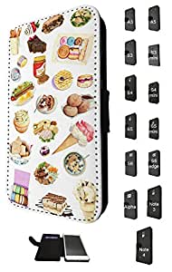 920 - Collage food ice cream macaroon suchi cupcake doughnut Design Samsung Galaxy S5 i9600 Fashion Trend TPU Leather Flip Case Full Case Flip Credit Card TPU Leather Purse Pouch Defender Stand Cover