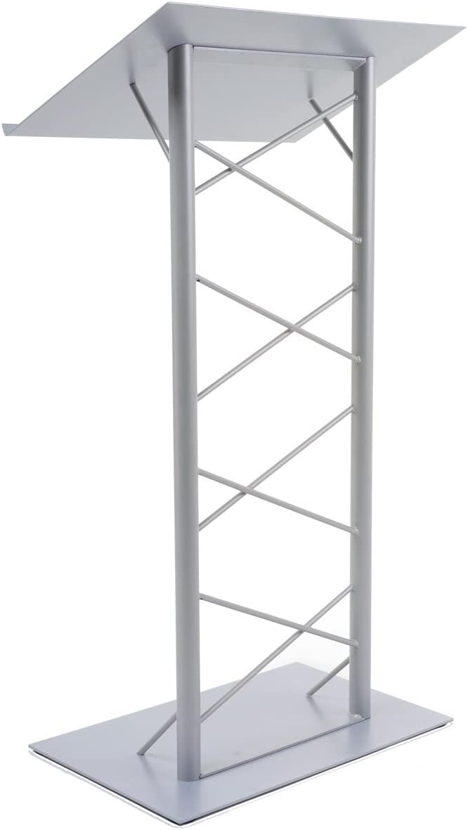 Truss Lectern with Lattice-Style Post, 47-inch-Tall Floor-Standing Podium with 7 8-inch Lip, Steel – Silver