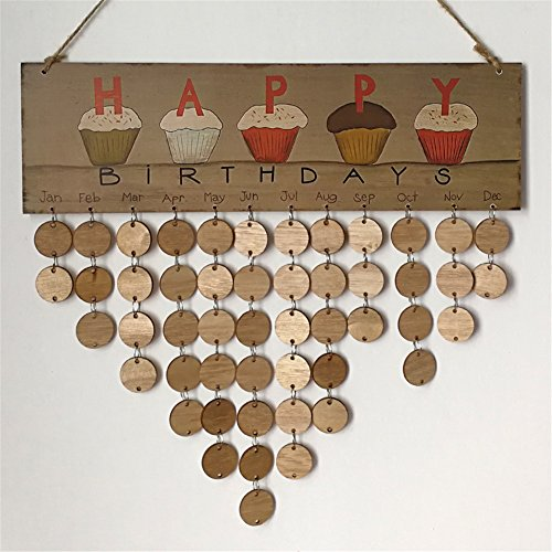 Happy Birthday Plaque (Tretree Happy Birthday Hanging Calendar Wooden Board Birthday Reminder Plaque Home D¨¦cor)