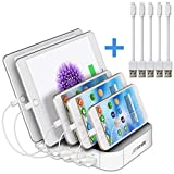JZBRAIN Multi Device Charging Station 5 Port USB Tablet Charging Dock for Cellphone & Android Devices (White, 2 Ap & 3 Micro USB Short Cables Included)