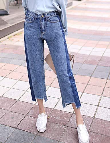 YFLTZ Pantalones Vaqueros de algodón de Las Mujeres - Color sólido Alto Aumento Blue