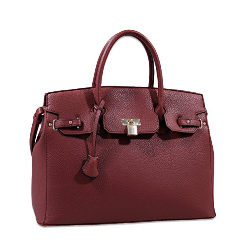 Yessica Designer Inspired Faux Leather Satchel Padlock Style Shoulder Handbag - Brown