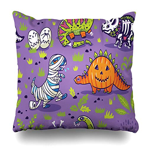 (Decorativepillows Case Throw Pillows Covers for Couch/Bed 18 x 18 inch,Happy Halloween Pumpkin Mummy Cartoon Ghost Comic Funny Home Sofa Cushion Cover Pillowcase Gift Bed Car Living)