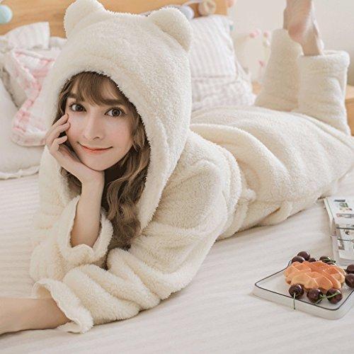 Pigiama Sleep Ispessimento Winter Cute Lady pezzi Bianca Pantaloni di GAOLILI Home due Set Clothes Season Autumn Sleep Robe tPnwI