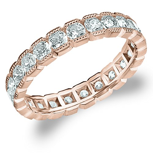 Milgrain Eternity Ring, 1.5 CT Genuine Diamond Anniversary Ring in 14K Rose Gold - Finger Size 7